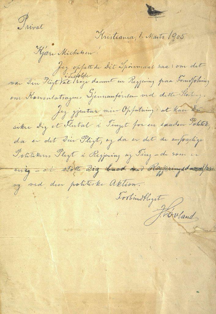 Brev fra Løvland til Michelsen 1. mars 1905