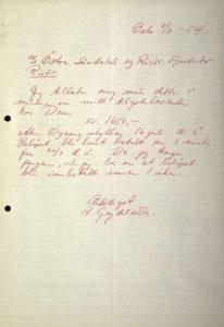 Brev til Østre Søndeled og Risør Fjordruter fra Anders Grydeland 08.11.1954