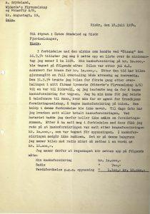 Brev til Østre Søndeled og Risør Fjordruter fra Anders Grydeland 18.07.1954 s. 1