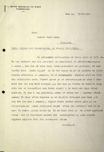 Brev til Anders Grydeland fra Østre Søndeled og Risør Fjordruter 13.11.1954