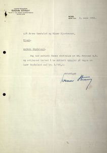 Brev til Anders Grydeland fra Svenn Stary 02.03.1955