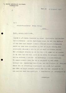 Brev til Svenn Stray fra Østre Søndeled og Risør Fjordruter 28.02.1955