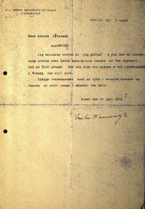 Fotostatkopi av erklæring fra Østre Søndeled og Risør Fjordruter 20.07.1954