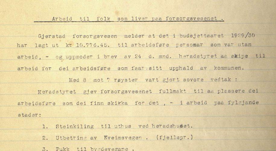 Særutskrift fra herredsstyremøte i Gjerstad 27.11.1930