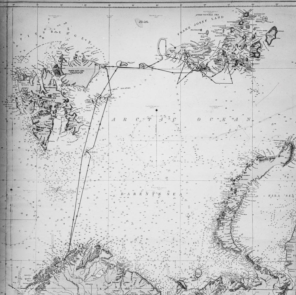 Kart over M/S «Bratvaag» rute i 1930. Foto: Trolig Adolf Sørensen
