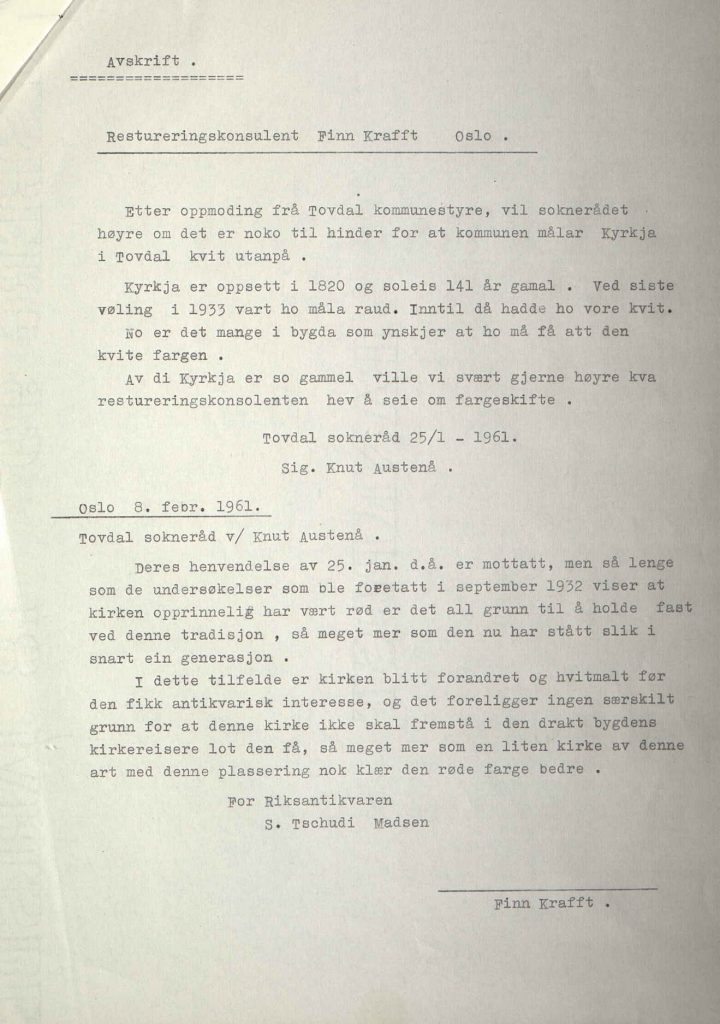 Avskrift av brev Riksantikvaren 08.02.1961