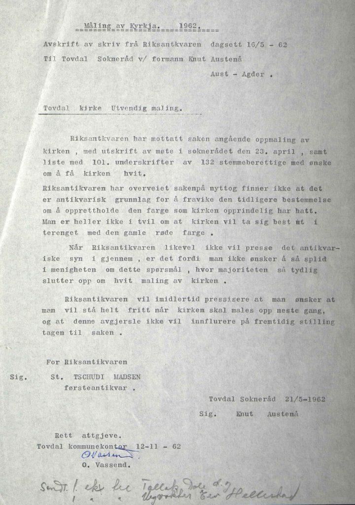 Avskrift av brev fra Riksantikvaren 16.05.1962
