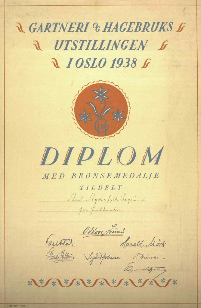 Diplom for bronsemedalje fruktsorter i Aust-Agder fylke 1938