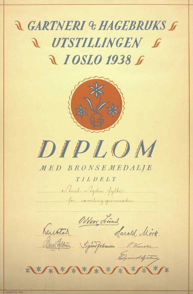 Diplom for bronsemedalje grønnsaker i Aust-Agder fylke 1938