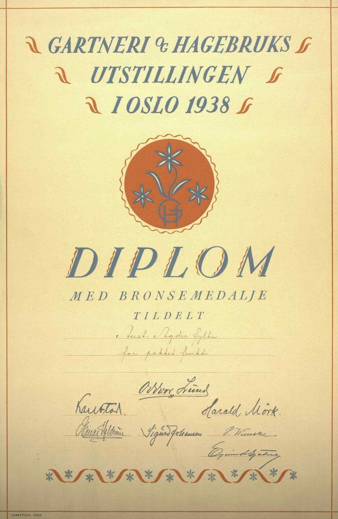 Diplom for bronsemedalje pakket frukt i Aust-Agder fylke 1938