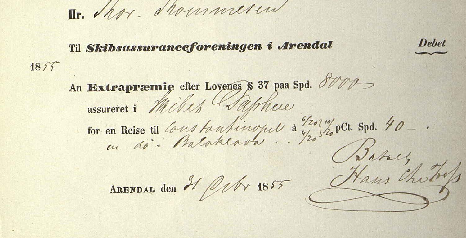 Kvittering for ekstrapremie for Daphne 31. oktober 1855