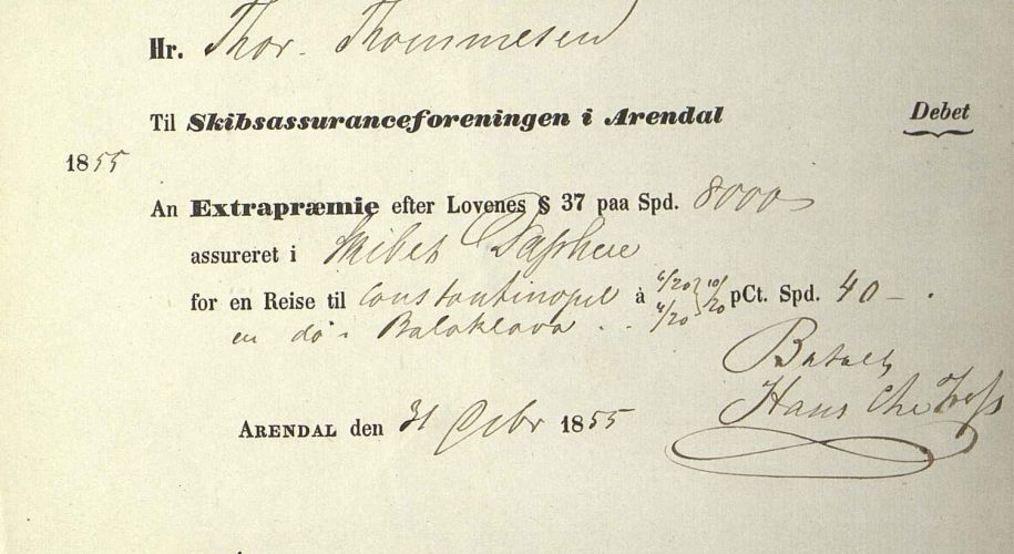 Kvittering for ekstrapremie for Daphne 31. oktober 1855