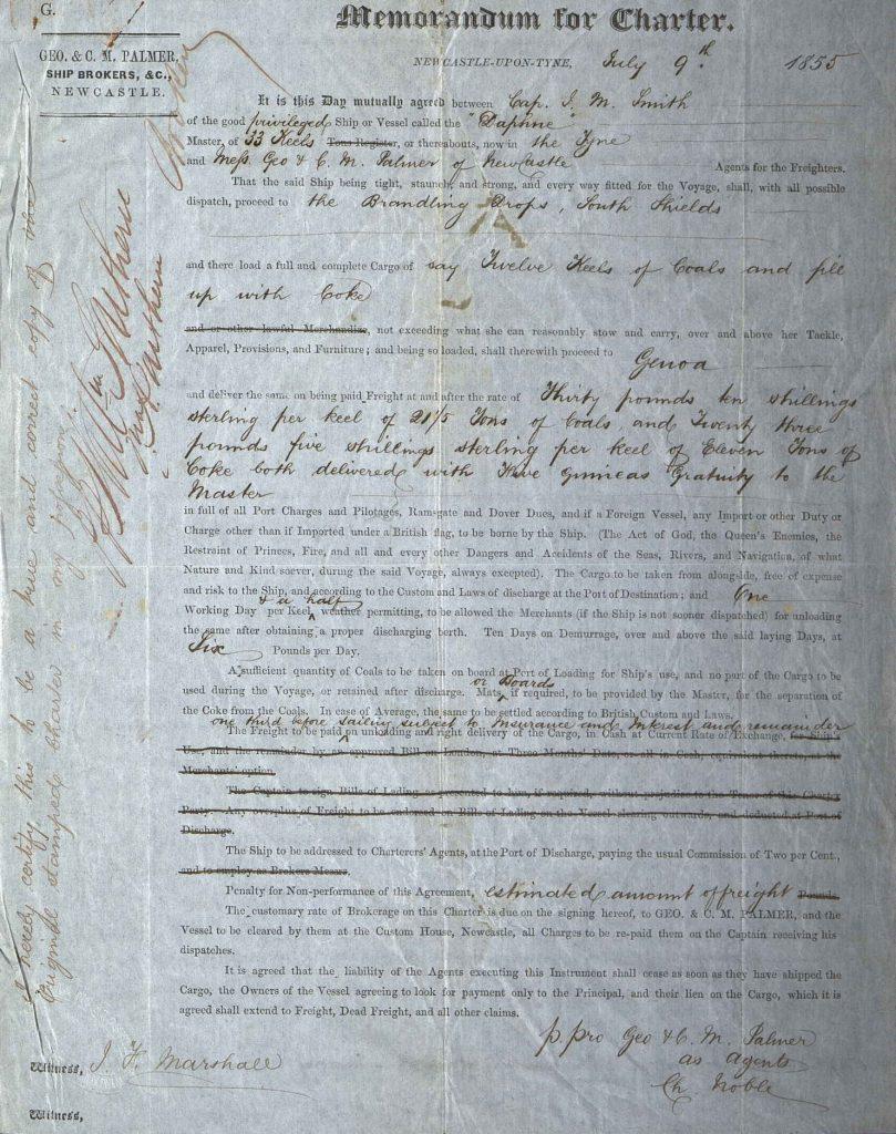 Memorandum for Charter Daphne 9. juli 1855