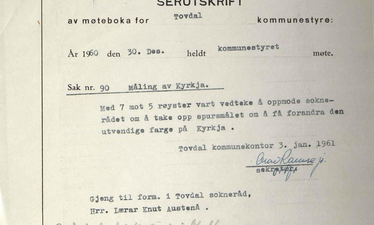 Særutskrift av møtebok for Tovdal kommunestyre 30.12.1960