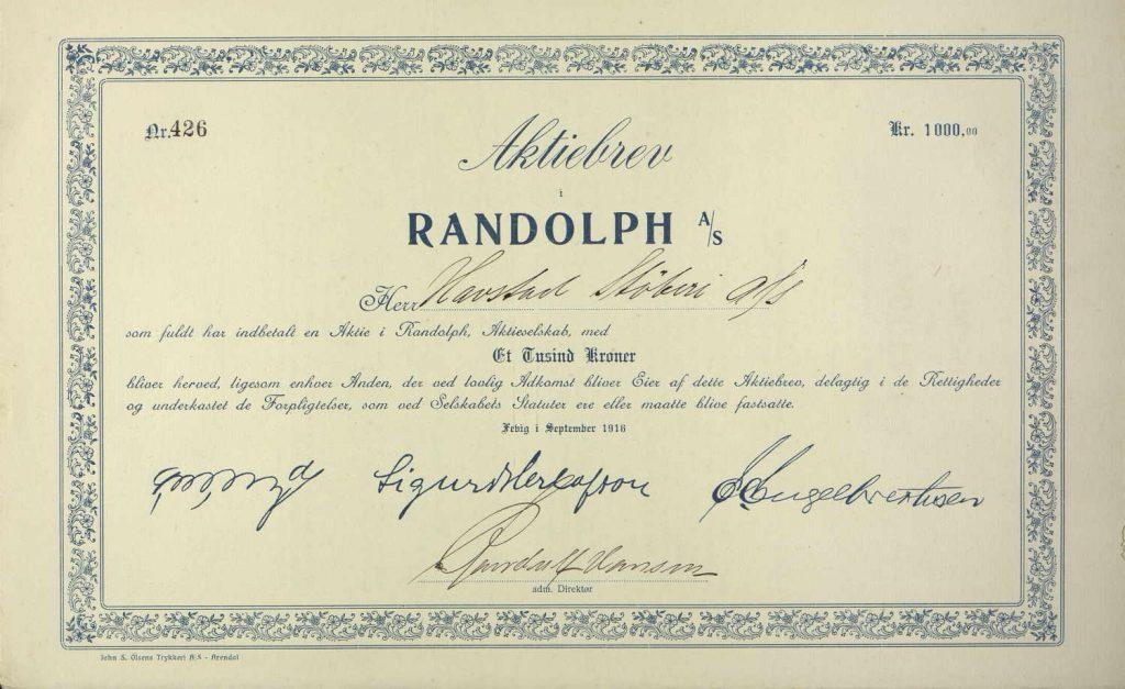 Aksjebrev for Randolph Skibsbyggeri 1916