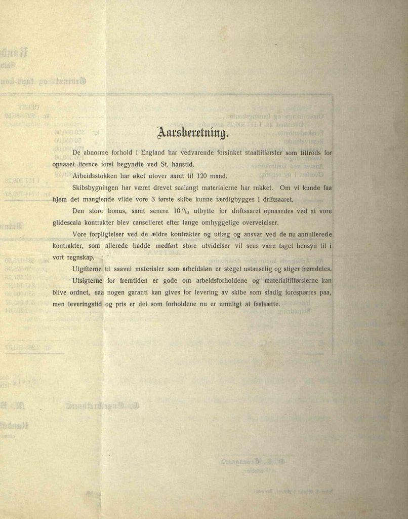 Årsberetning for Randolph Skibsbyggeri 1919