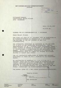 Brev fra kulturminister Åse Kleveland til Lillesand kommune 23.06.1993 vedrørende Cirkusland i Lillesand