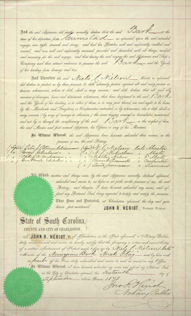 Protest of Niels C. Nielsen Norsk Flag 1878 s. 3