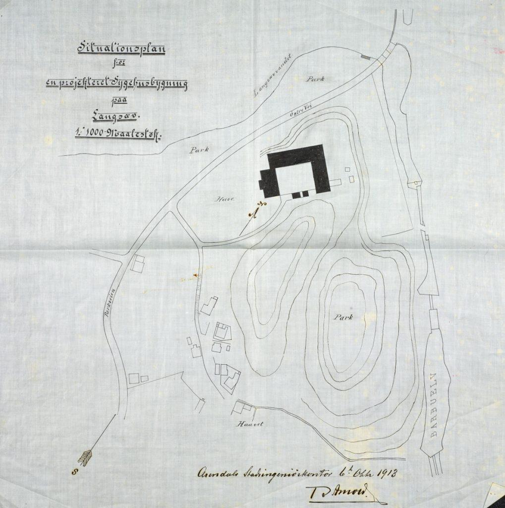 Situasjonsplan for prosjektert sykehus på Langsæ 1913