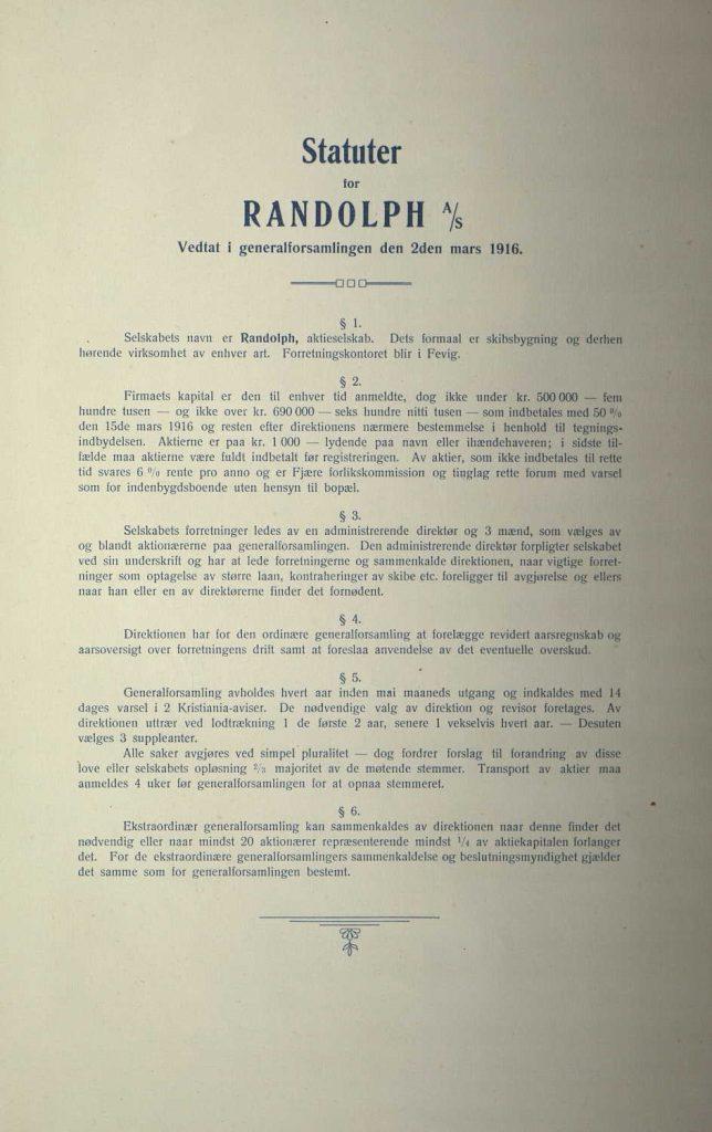 Statutter for Randolph Skibsbyggeri 1916