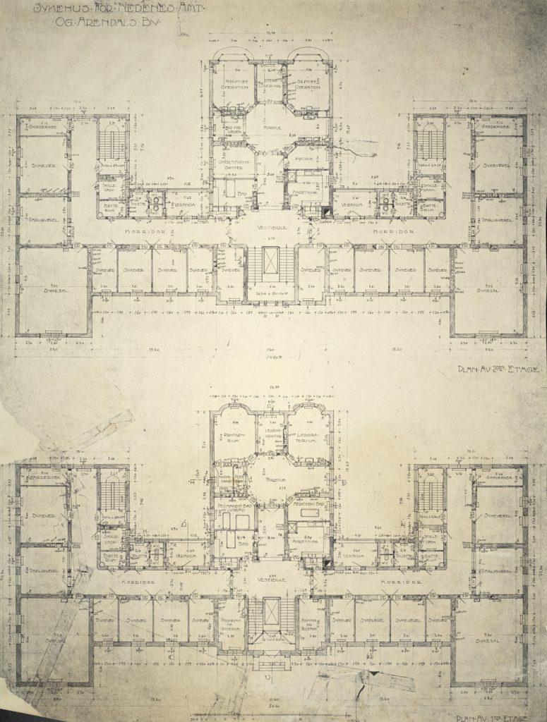 Sykehus for Nedenes Amt og Arendals by Haldor Larsen Børve 1. og 2. etg