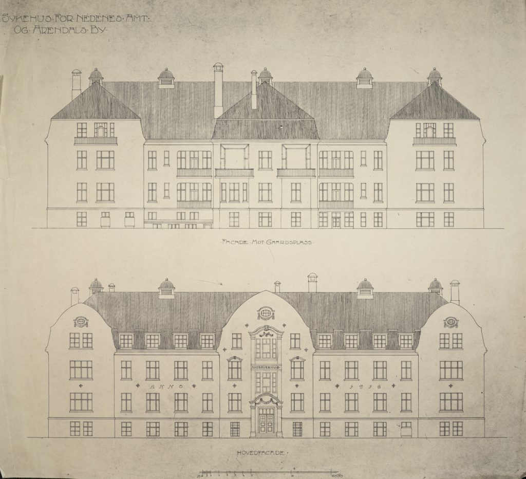 Sykehus for Nedenes Amt og Arendals by Haldor Larsen Børve Fasader