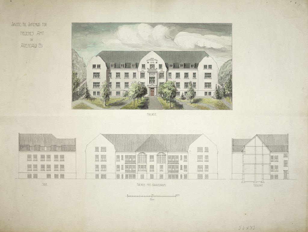 Sykehus for Nedenes Amt og Arendals by Haldor Larsen Børve Fasader farge