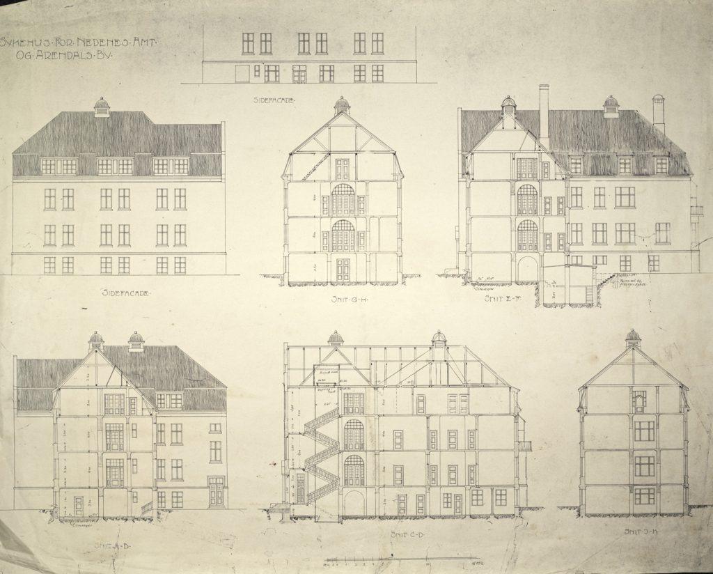 Sykehus for Nedenes Amt og Arendals by Haldor Larsen Børve Snitt og sidefasade