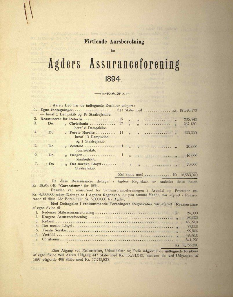 Årsrapport for Agders Gjensidige Assuranceforening 1894 s. 1