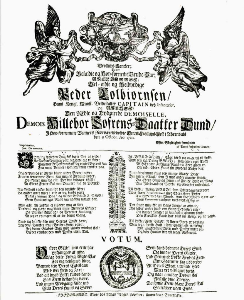 Bryllupsdikt til Hilleborg Sørensdatter Dund og Peder Colbjørnsen 1720