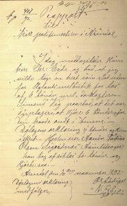 Rapport til politimesteren i Arendal 2.11.1892
