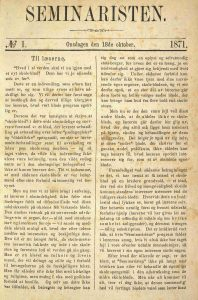 Seminaristen 18.10.1871 1. utgave s. 1