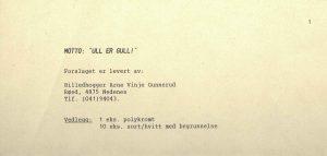 Arne Vinje Gunneruds utkast til OL maskot 1994 Ull er gull vedlegg