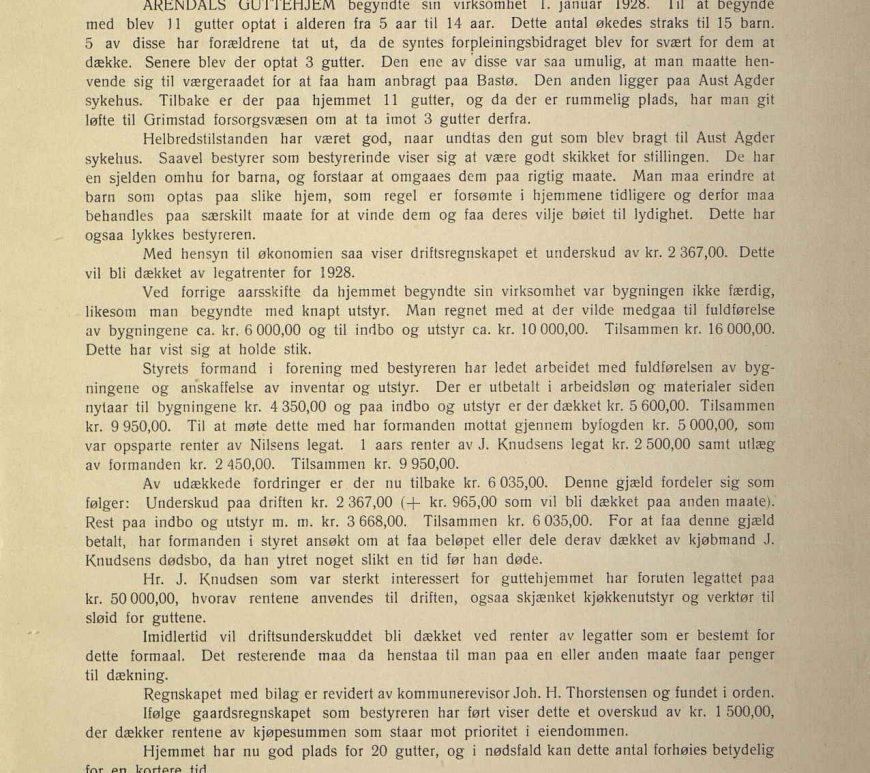 Årsberetning for Arendals Guttehjem 1928