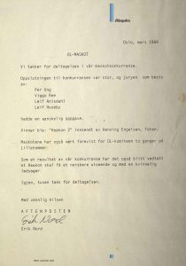 Brev fra Aftenposten mars 1989 vedrørende resultat av maskot konkurransen
