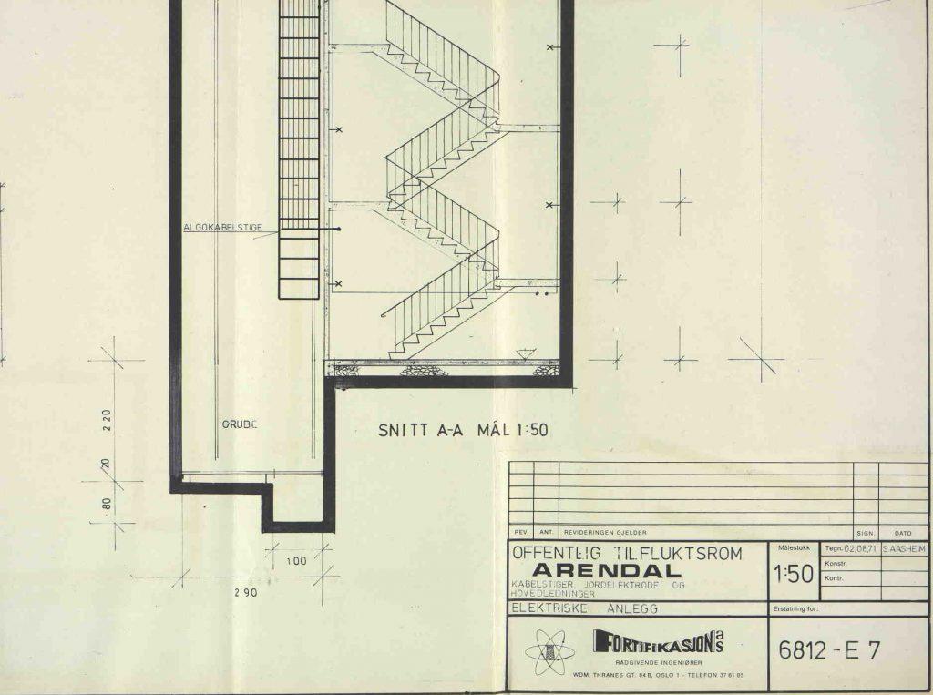 Skisse av trappeoppgang Fortifikasjon 02.08.1971