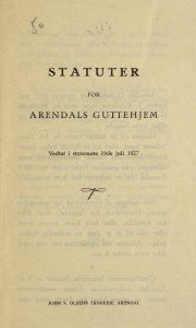 Statuter for Arendals Guttehjem forside