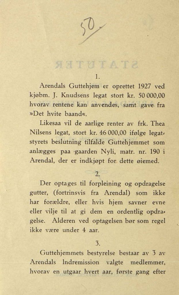Statuter for Arendals Guttehjem s. 1