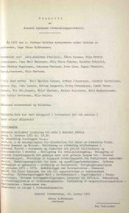 Utskrift av Arendal bystyres forhandlingsprotokoll 01.02.1971 s. 1