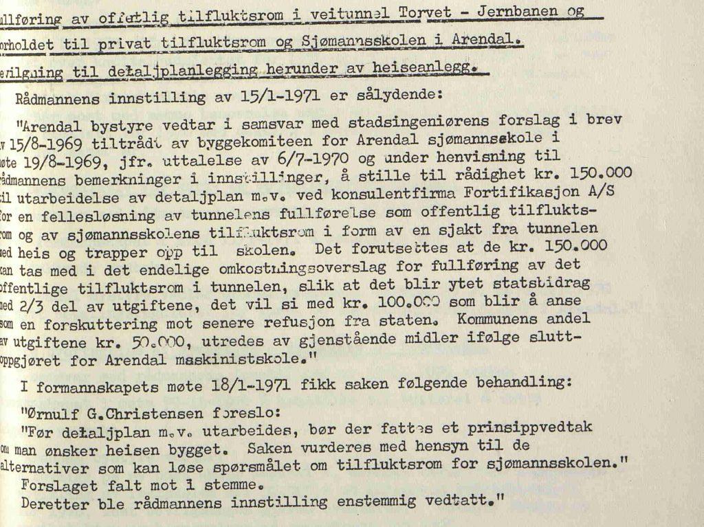 Vedtak i Arendal bystyre 01.02.1971
