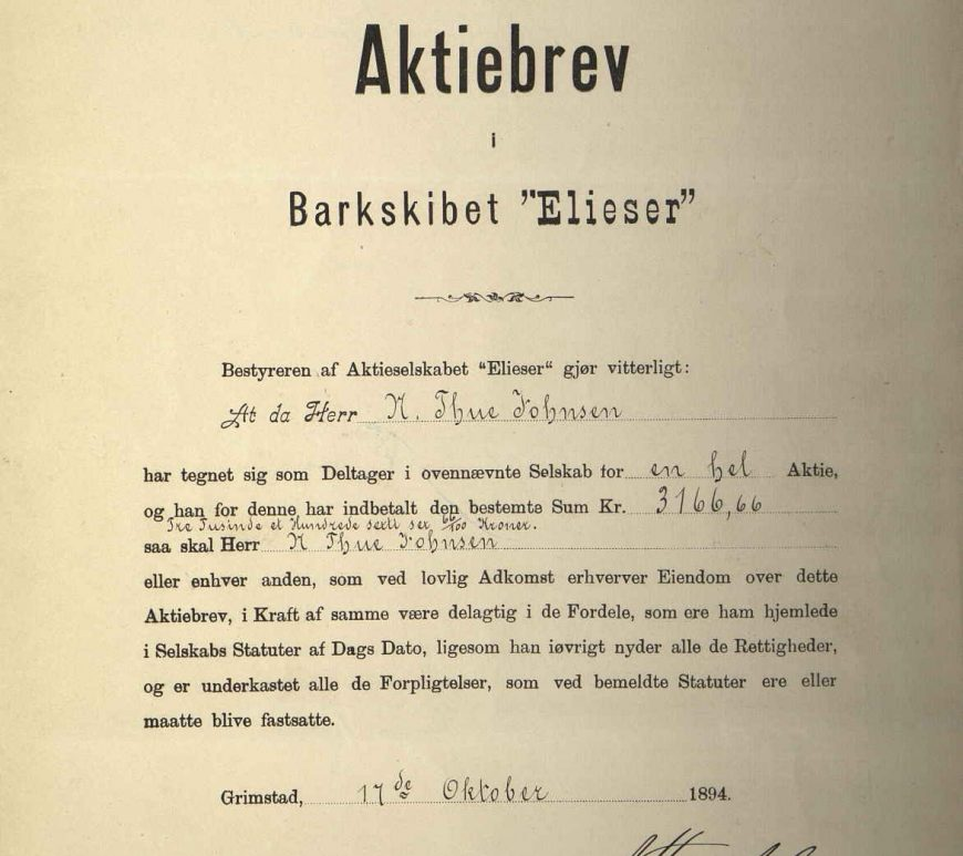 Aktiebrev i Barkskibet Elieser no 1