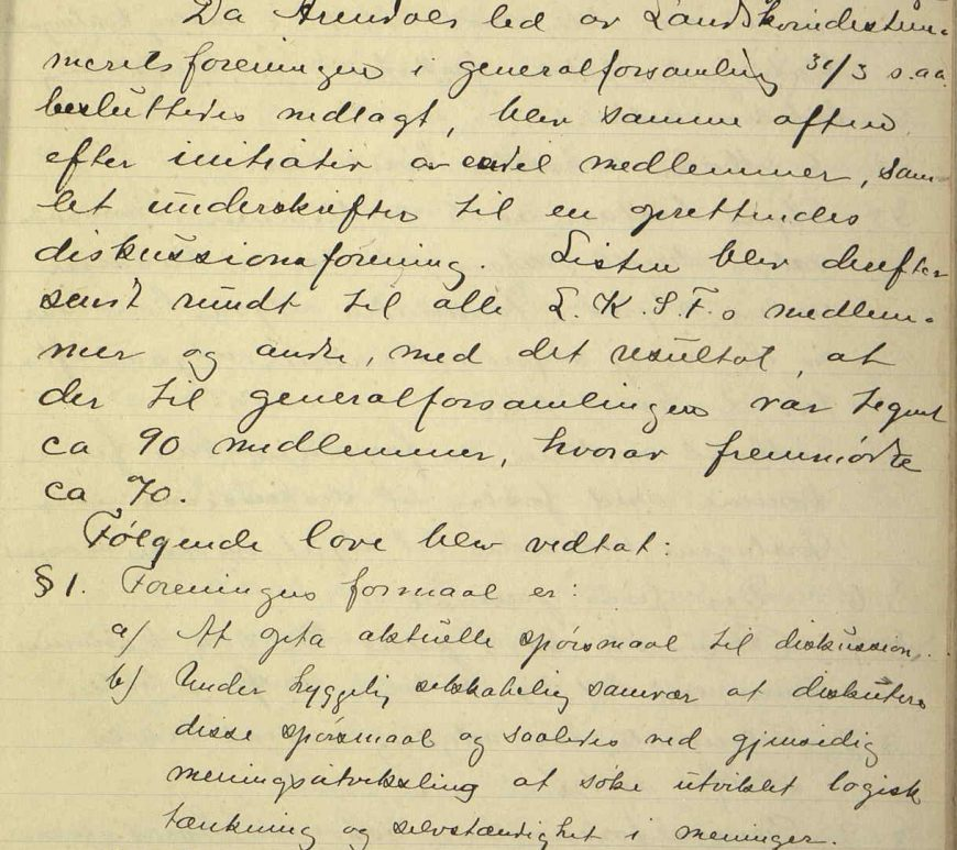 Arendals diskusjonsforening sin journal 1911 til 1921 s. 1