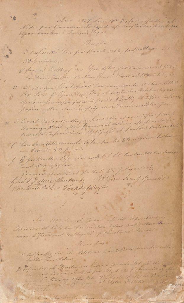 Forstanderskapsprotokoll for Iveland Sparebank 1867 1