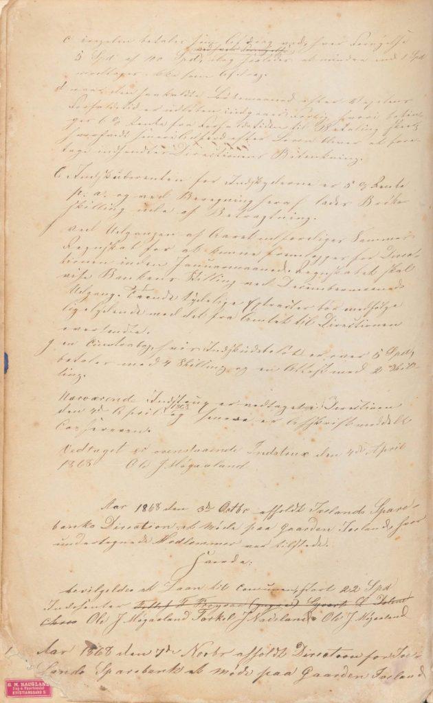 Forstanderskapsprotokoll for Iveland Sparebank 1868 3