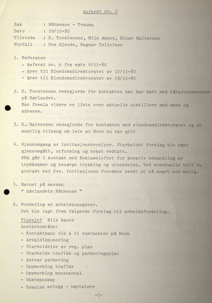 Andre møtereferat i Trauma om båtmesse 29.12.1980 s. 1
