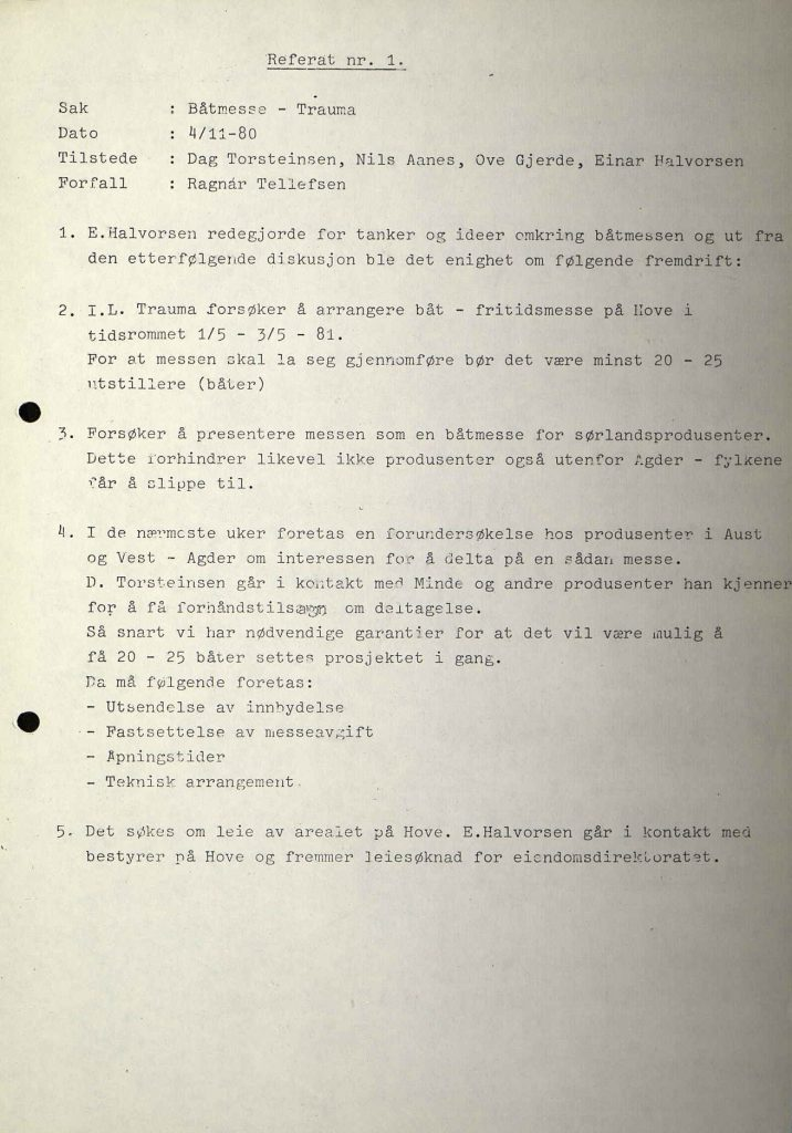 Første møtereferat i Trauma om båtmesse 04.11.1980