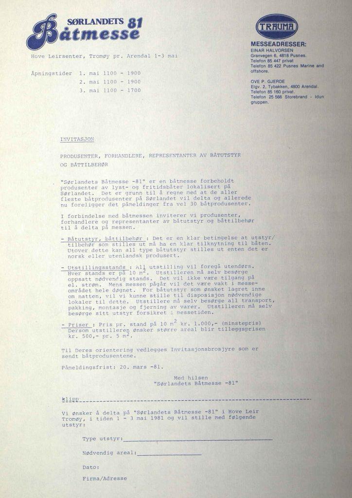 Invitasjon til Sørlandets Båtmesse 1981