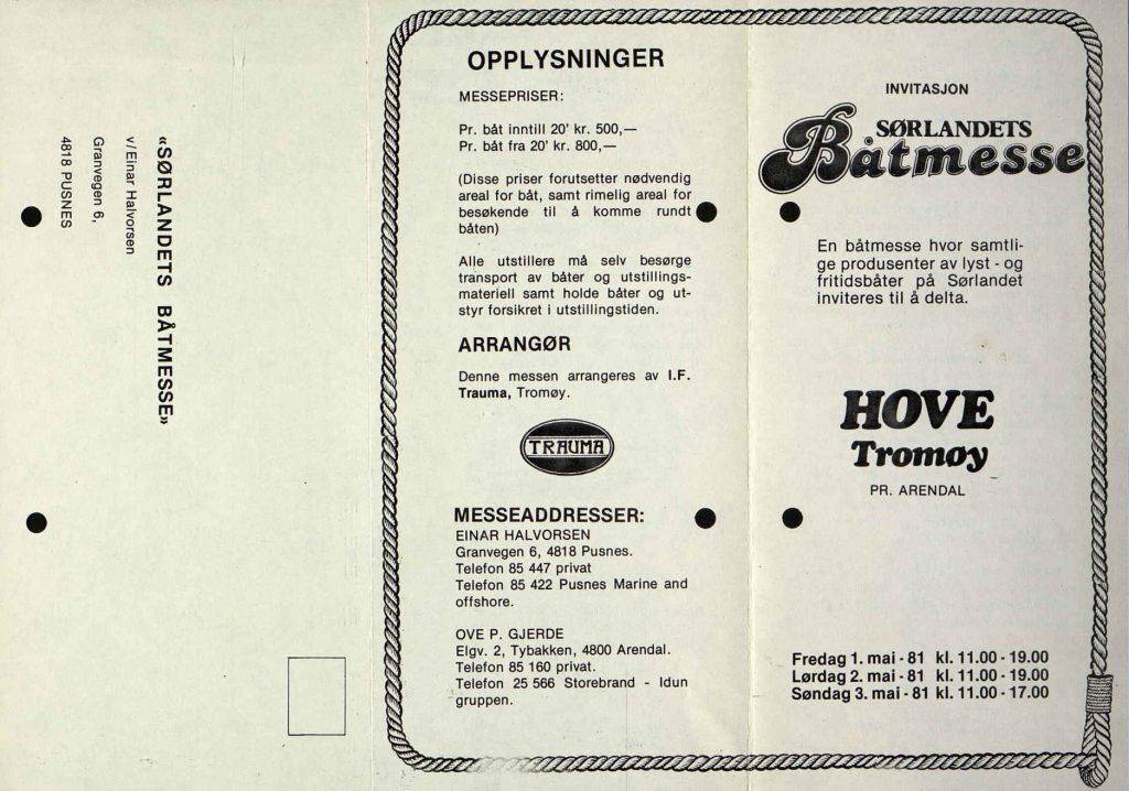 Programblad for Sørlandets Båtmesse 1981 1