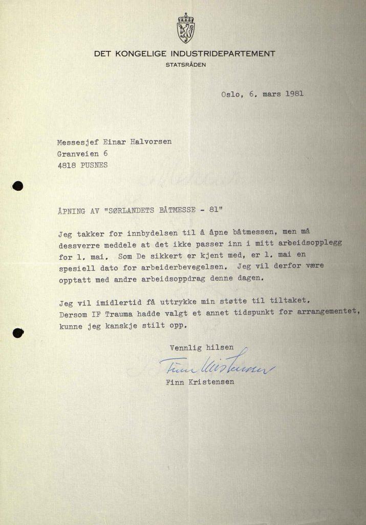 Svarbrev fra næringsminister Finn Kristensen