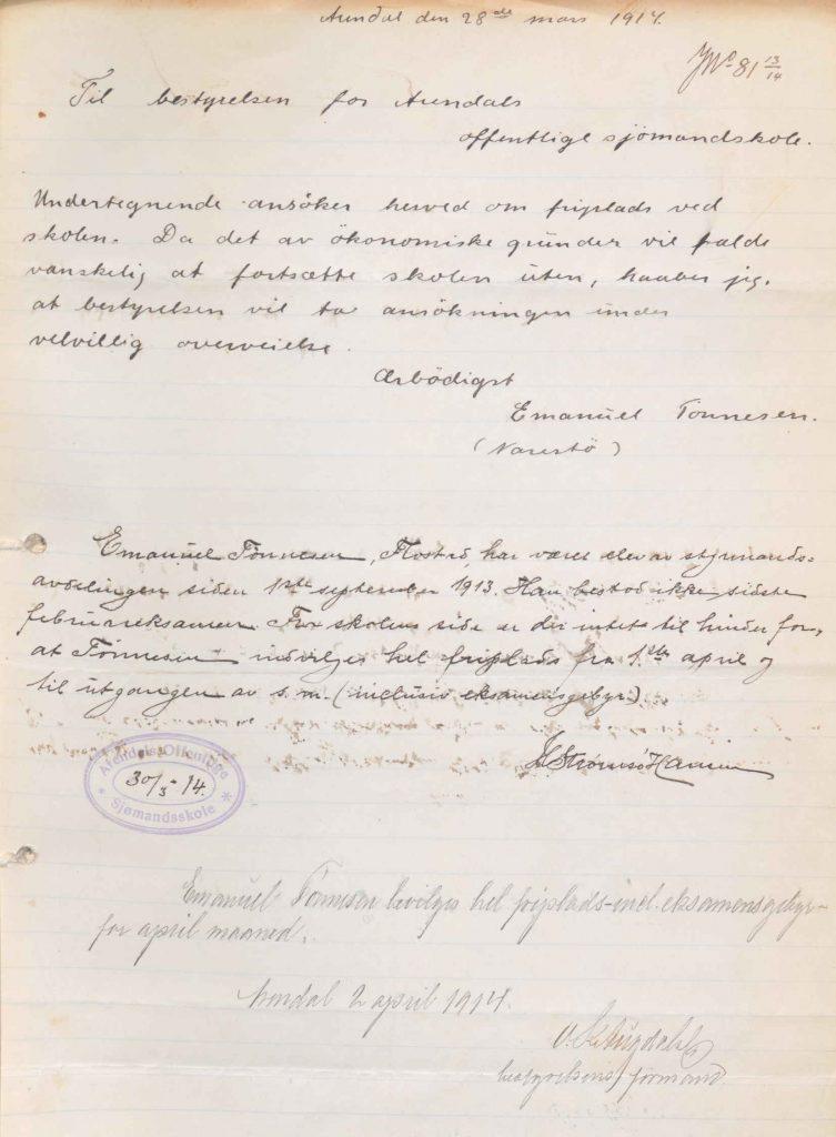 Brev til Arendals offentlige sjømandskole fra Emanuel Tønnesen 28.03.1914